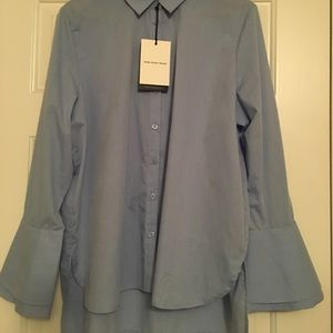 blue button down statement sleeve blouse